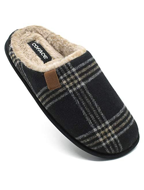 COFACE Mens Cozy Memory Foam Scuff slippers Slip On Warm House Shoes Indoor/Outdoor with Best Arch Surpport Size 7-13