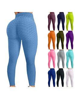 TikTok Leggings, High Waist Yoga Pants for Women Tummy Control Booty Bubble Hip Lifting Workout Running Tights