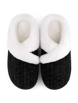 Homitem Women's Cozy Memory Foam Chenille Slippers with Memory Foam, Ladies'Fuzzy Fleece Lining Slip on House Slipper Shoes with Anti-Skid Rubber Sole Indoor Outdoor Shoe