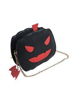 FENICAL Crossbody Bag Halloween Pumpkin Messenger Bag Devil Shoulder Chain Bag for Women Girls Kids (Black)