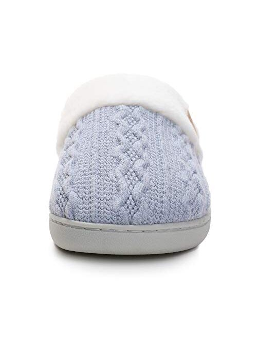 Vonluxe Women's Fuzzy House Slippers Comfy Memory Foam Bedroom Slippers Warm Slip On Light Shoes Outdoor Indoor Faux Fur Lined