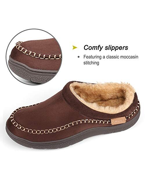 Zigzagger Men's Fuzzy Microsuede Moccasin Style Slippers Indoor/Outdoor Fluffy House