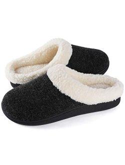 Wishcotton Women's Cozy Memory Foam Slippers, Fuzzy Wool-Like Plush Fleece Lined Warm Slip On House Shoes, Indoor Outdoor Anti-Skid Rubber Sole