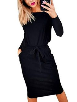 Women's 2021 Casual Long Sleeve Party Bodycon Sheath Belted Dress With Pockets