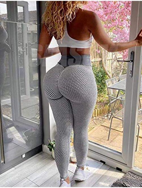 SEASUM Ruched Butt Lifting High Waist Textured Yoga Pants Tummy Control Workout Leggings