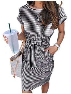 Women's Summer Striped Short Sleeve T Shirt Dress Casual Tie Waist With Pockets