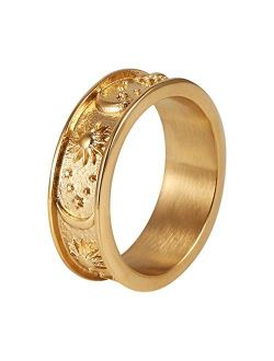 8mm Moon Star Sun Statement Ring Stainless Steel Boho Jewelry For Women Men