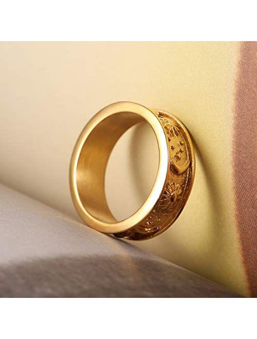 HZMAN 8mm Moon Star Sun Statement Ring Stainless Steel Boho Jewelry for Women Men