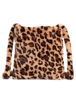 Women Leopard Print Clutch Handbag Plush Faux Fur Tote Bag Soft Warm Shoulder Crossbody Purse