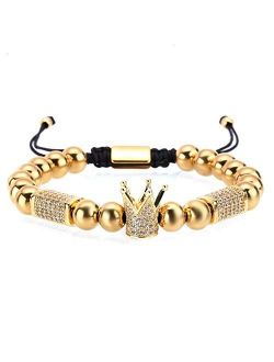 MAGIC FISH Imperial Crown King Mens Bracelet Pave CZ Gold Bracelets for Men Luxury Charm Fashion Cuff Bangle Crown Birthday Jewelry