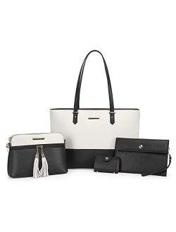 CHANRS KEATN Handbags for Women Fashion Tote Shoulder Bags Top Satchel Purses 4pcs Handbag Set