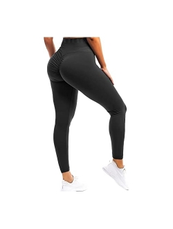 Womens Butt Lift Ruched Yoga Pants Sport Pants Workout Leggings Sexy High Waist Trousers Tight Side Pocket