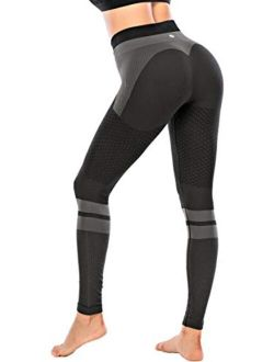 Contrast High Waist Leggings For Women,butt Lifting Tummy Control Compression Workout Yoga Pants