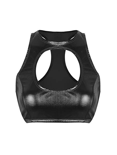 winying Womens Wet Look PVC Leather Racer-Back Cut Out Crop Tops Vest Rave Clubwear Dancewear
