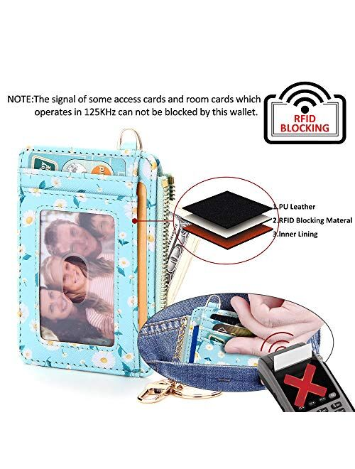 KUKOO Slim Minimalist RFID Credit Card Holder Front Pocket Keychain Wallet for Women Coin Purse with Keychain Gift Box