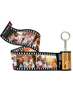 Personalized Custom Photo Picture Camera Film Roll Keychains Personalized Photo with Photo Reel Album, Personalized Gifts with MultiPhoto