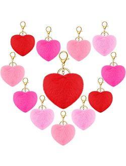 12 Pieces Pom Poms Keychains Fluffy Heart Shape Pompoms Keyrings Furry Heart Pompom Ball Keychains Faux Rabbit Pom Pendant Keychain Clips for Women Girl Valentine's Day