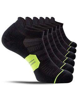 CelerSport 6 Pack Men's Running Ankle Socks with Cushion, Low Cut Athletic Tab Socks