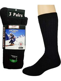Merino Wool Thermal Socks For Men and Women - Cold Weather Extra-Warm Winter Boot Socks by Debra Weitzner (3 Pairs)