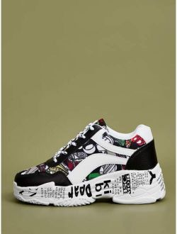 Printed Lace-up Front Colorful Sneakers