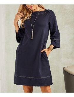 Suzanne Betro Dresses | Navy Contrast-Stitch Boatneck Shift Dress - Women & Plus