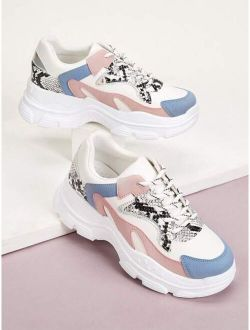 Lace-up Front Snakeskin Chunky Colorful Sneakers