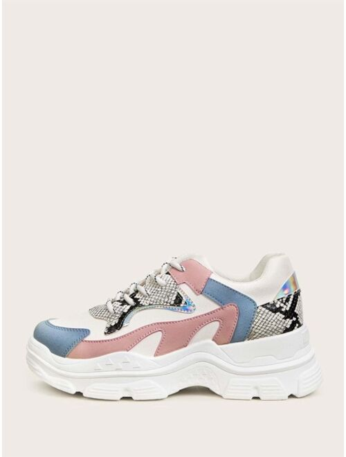 Shein Lace-up Front Snakeskin Chunky Colorful Sneakers