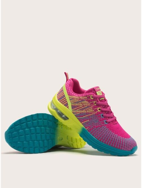 Shein Fabric Lace-up Low Ankle Colorful Sneakers