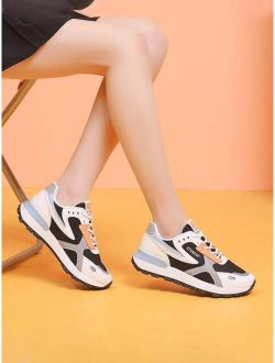 Mesh Lace Up Low Ankle Colorful Chunkky Sneakers