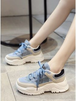 Pu Lace Up Low Ankle Colorful Chunky Sneakers