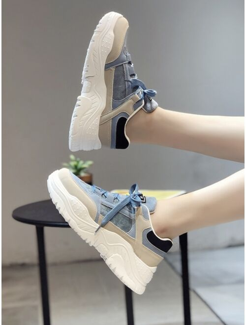 Shein PU Lace Up Low Ankle Colorful Chunky Sneakers