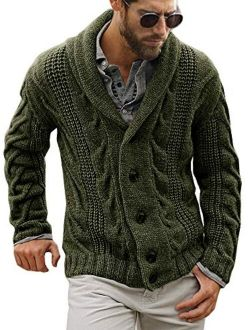 Mens Cable Knit Cardigan Sweater Shawl Collar Loose Fit Long Sleeve Casual Cardigans