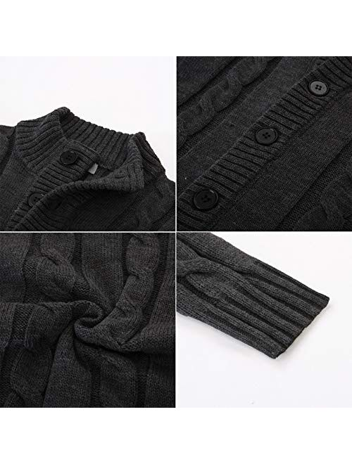 PJ PAUL JONES Men's Stylish Stand Collar Cable Knitted Button Cardigan Sweater