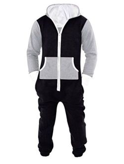 Mens Jumpsuit Non Footed Pajama Unisex One Piece Playsuit Adult Onesie With Hood