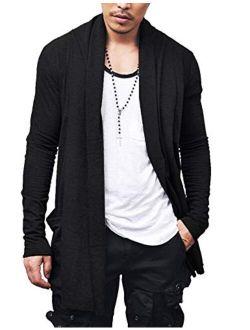 Men's Ruffle Shawl Collar Cardigan Premium Cotton Blend Long Length Drape Cape Overcoat
