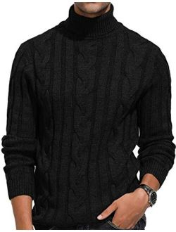 PJ PAUL JONES Men's Casual Turtleneck Sweaters Cable Knit Thermal Pullover Sweater