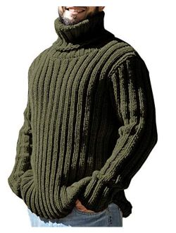 Mens Sweaters Turtleneck Cable Knitted Pullover Long Sleeve Slim Fit Chunky Casual Fall Winter Warm Cardigans