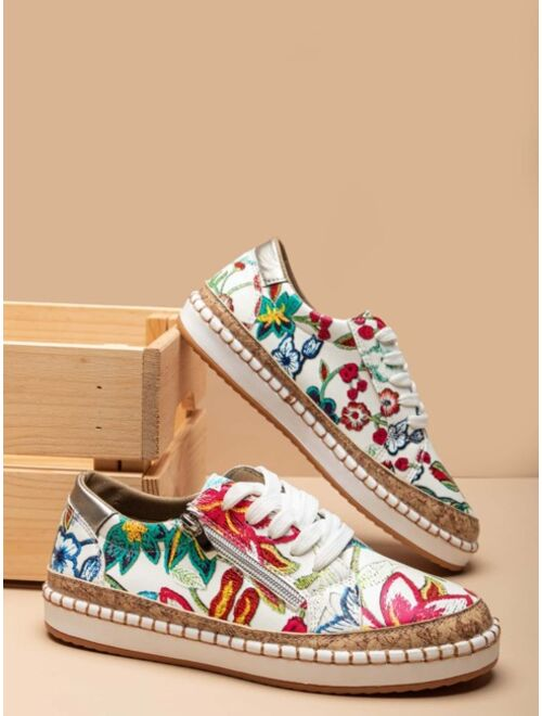 Shein Zip Side Floral Print Lace Up Colorful Sneakers