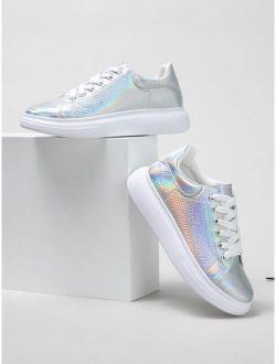 Snakeskin Embossed Holographic Skate Shoes