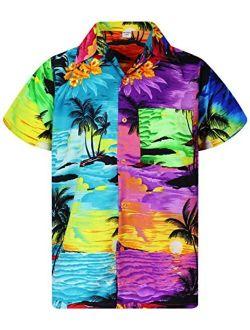 V.H.O. Funky Hawaiian Shirt Men Casual Front Pocket Button Down Very Loud Shortsleeve Unisex Surf