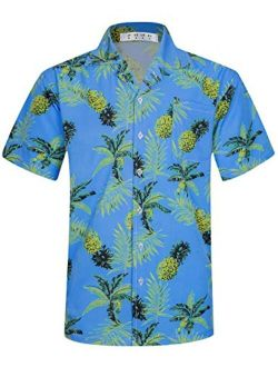 ELETOP Men's Hawaiian Shirt Short Sleeve Aloha Shirts Beach Party Floral Print Casual Shirts L2