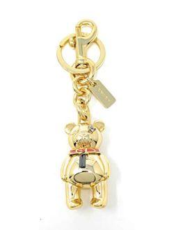 3 - D Teddy Bear Keychain Bag/purse Charm Key Fob/chain In Gold 87166, Medium