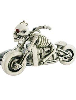 Cool Motorcycle Skull Rubber Keychain Keyring Key Chain Men's Gift