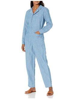 Women's Long Sleeve Zip Up One Pocket Surplus Jumpsuit