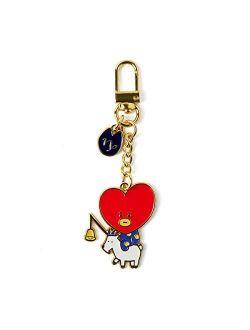 Universtar Tata Character Cute Mini Figure Keychain Key Ring Bag Charm With Clip, Red