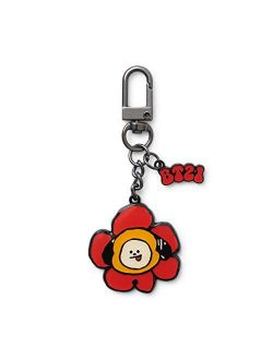 Flower Collection Character Metal Snap Keychain Key Ring Bag Charm With Clip