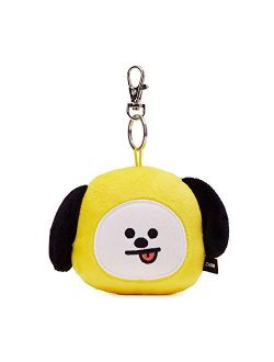 Official Merchandise By Line Friends - Chimmy Character Plush Doll Face Key Chain Ring With Mirror Handbag Accessories