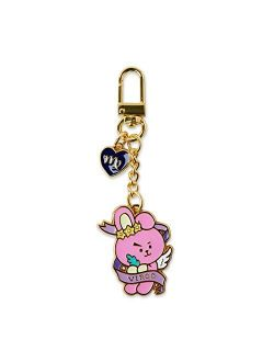 Universtar Cooky Character Cute Mini Figure Keychain Key Ring Bag Charm With Clip, Pink