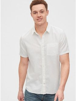 Button-Front Shirt in Linen-Cotton