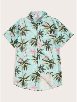 Men Flamingo & Tree Print Hawaiian Shirt